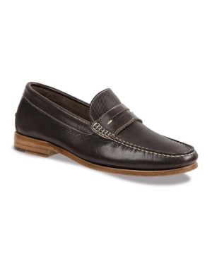 Sandro Moscoloni Men's Moc Toe Penny Strap with Textured Vamp Men's Shoes