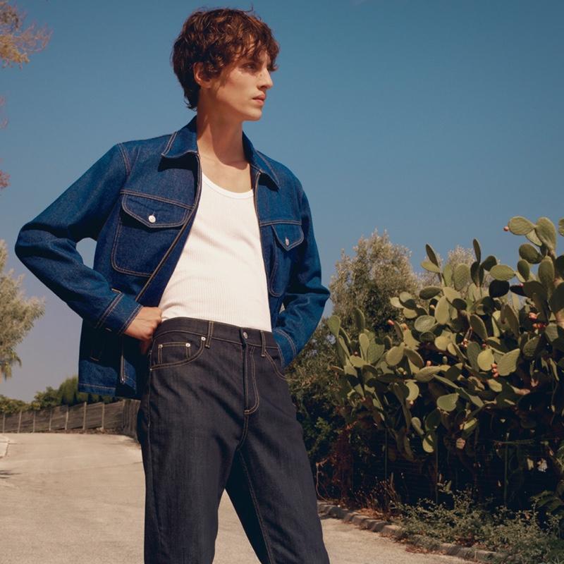 Doubling down on stylish denim, Lucas El Bali appears in Sandro's spring-summer 2021 lookbook.