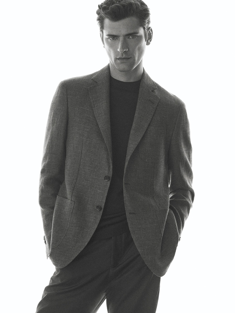 Appearing in a black and white photo, Sean O'Pry wears Massimo Dutti tailoring.