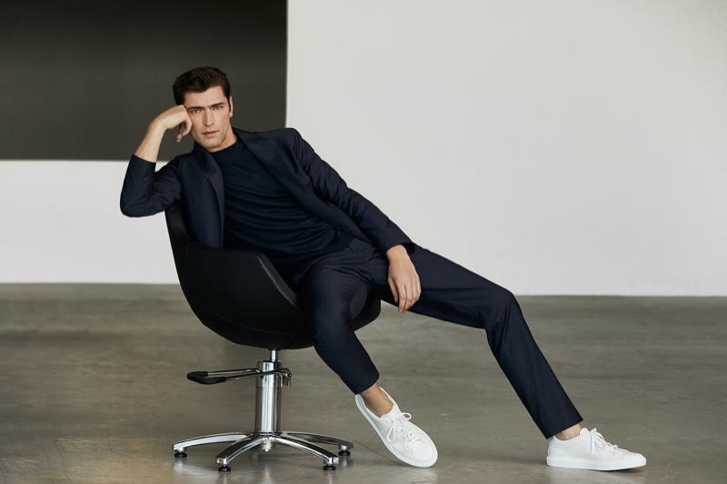 Pablo Sáez photographs Sean O'Pry in an elegant Massimo Dutti suit.