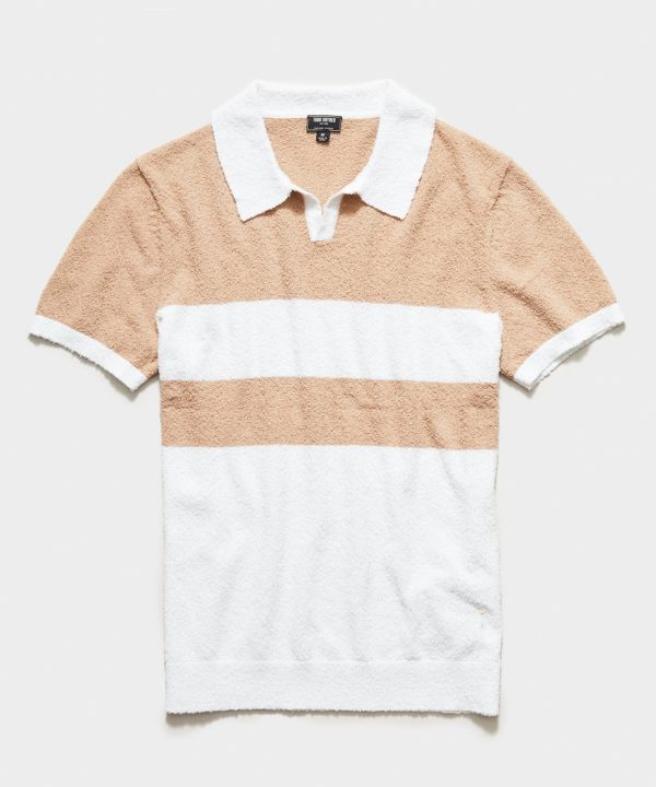 Short Sleeve Boucle Johnny Collar Polo in Khaki