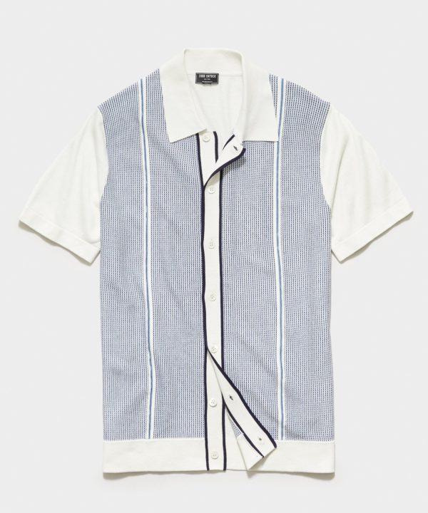 Short Sleeve Textured Full Placket Polo in Light Blue