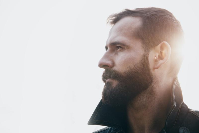 Side Profile Bearded Man Sunlight
