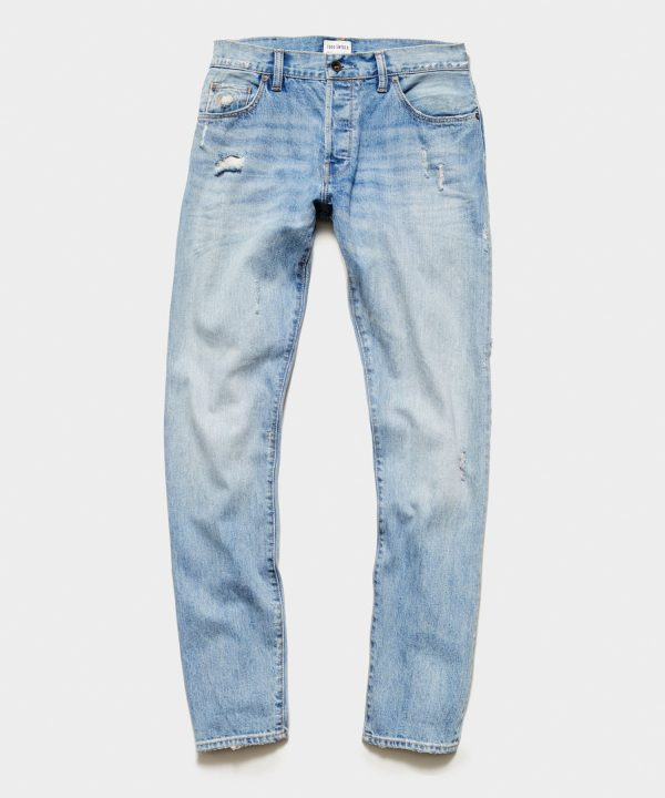 Slim Fit Selvedge Jean in Destroyed Broome Wash