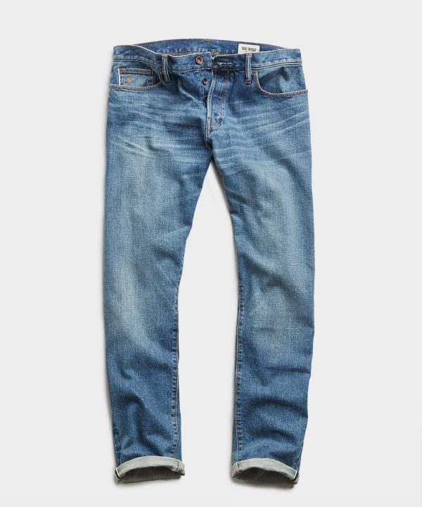 Straight Fit Japanese Stretch Selvedge Jean in Medium Indigo