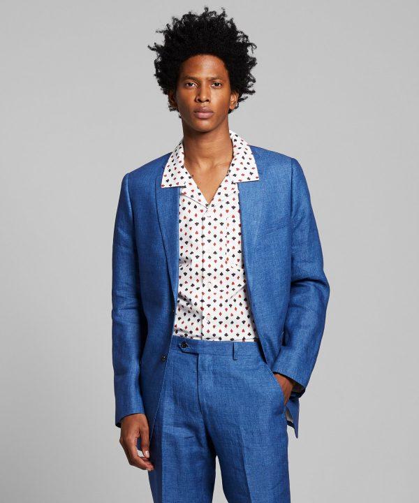 Sutton Italian Linen Suit Jacket in Medium Blue