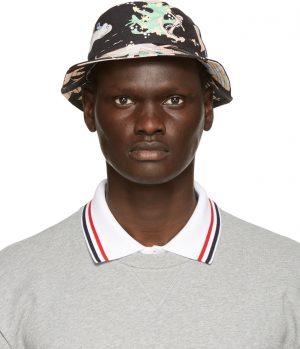 Thom Browne Black Hawaiian Scene Classic Bucket Hat