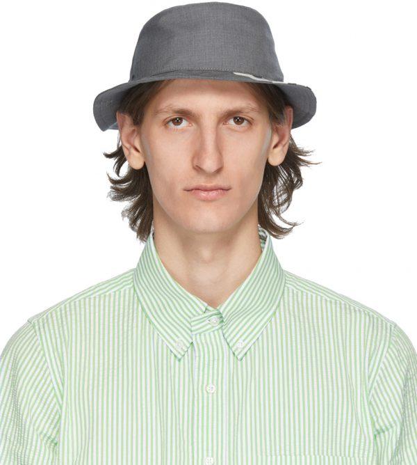 Thom Browne Grey 4-Bar Classic Bucket Hat