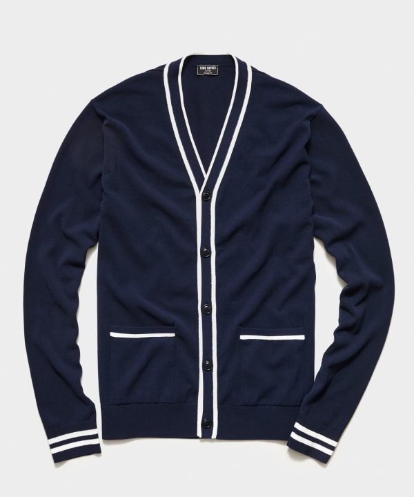 Tipped Cardigan in Navy