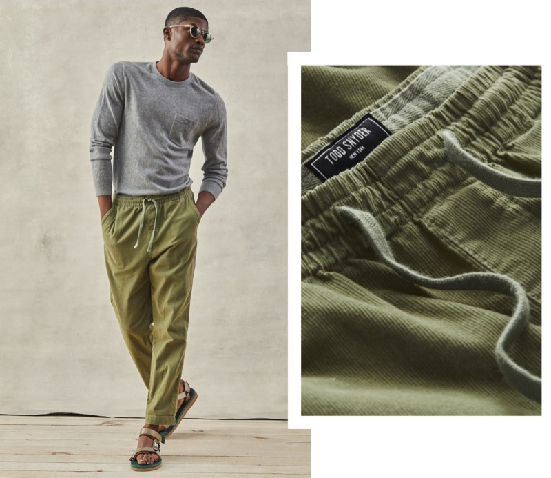 Todd Snyder Stretch Corduroy Weekend Pants in Sage