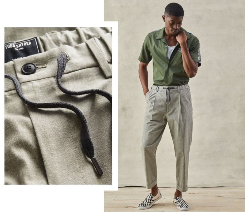 Todd Snyder Japanese Chambray Traveler Dress Pants in Olive