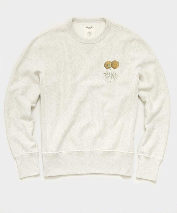 Todd Snyder x John Derian Marigold Print Sweatshirt in Eggshell