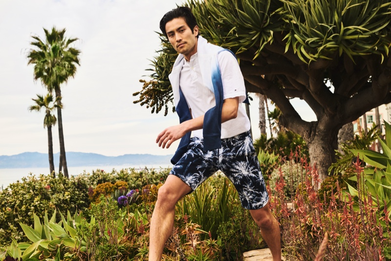Max Ando sports a smart leisure look from Tommy Hilfiger.