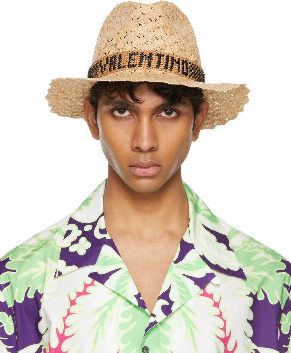 Valentino Beige Borsalino Edition Raffia Crochet Hat