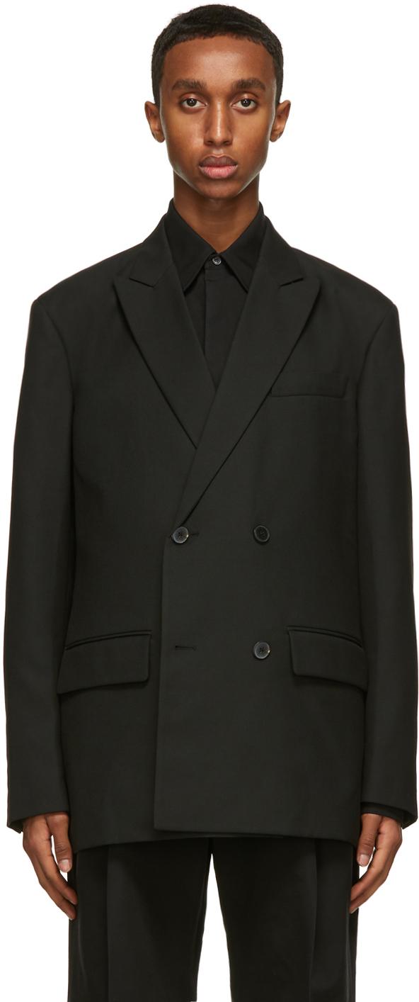 Valentino Black Double-Breasted Logo Blazer