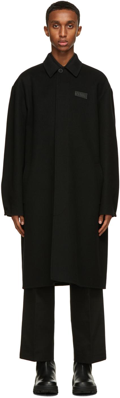 Valentino Black Double Cashmere 'VLTN' Pea Coat