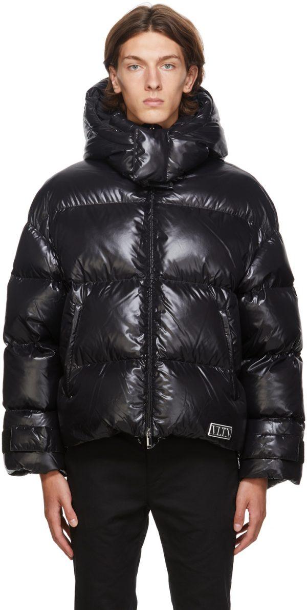 Valentino Black Down 'VLTN' Hooded Coat
