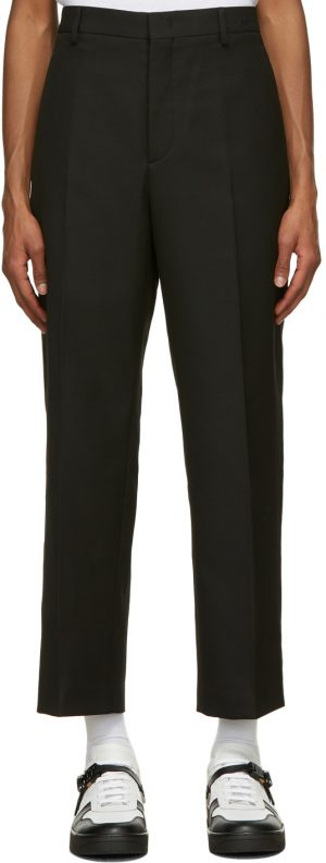 Valentino Black Embroidered Logo Trousers