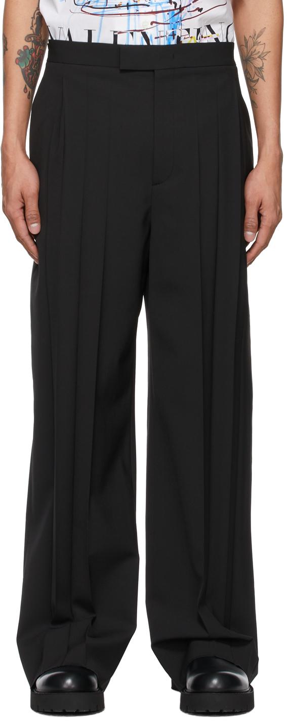 Valentino Black Iron Pleat Trousers