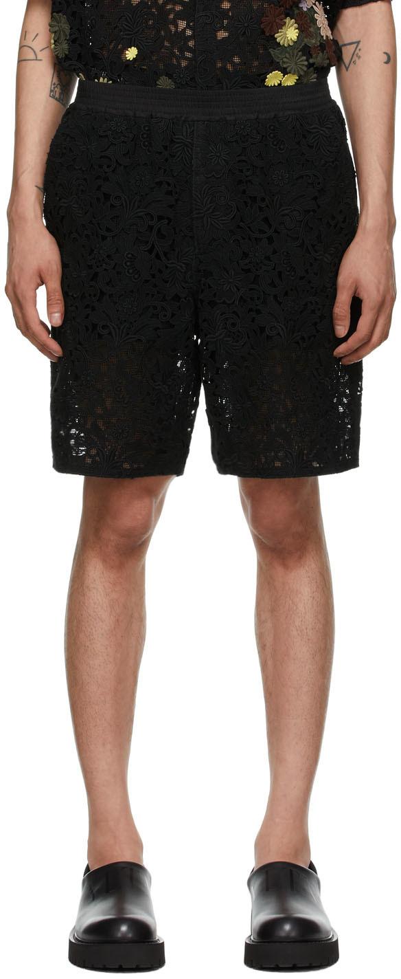 Valentino Black Lace Macramé Bermuda Shorts