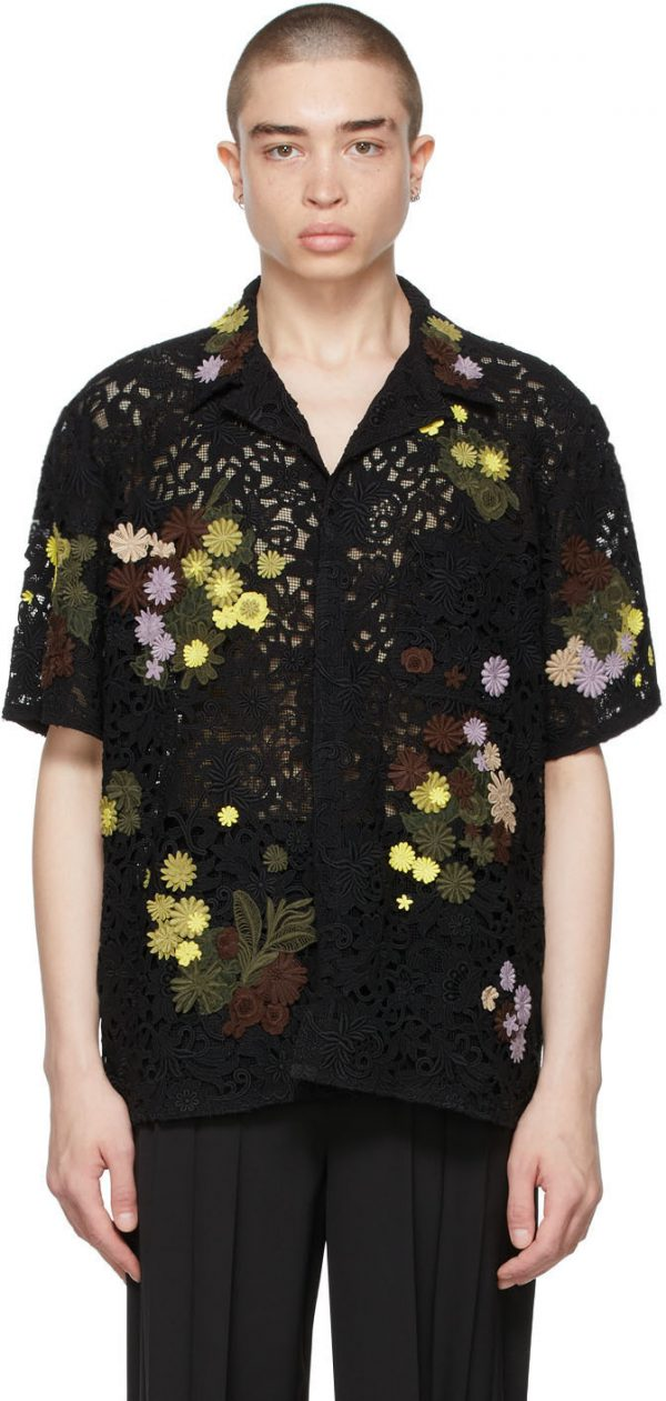 Valentino Black Lace Macramé Short Sleeve Shirt