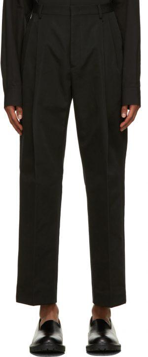 Valentino Black Pleated Logo Trousers