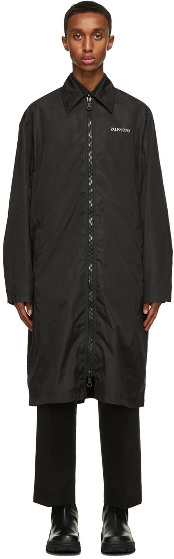 Valentino Black Satin Logo Coat