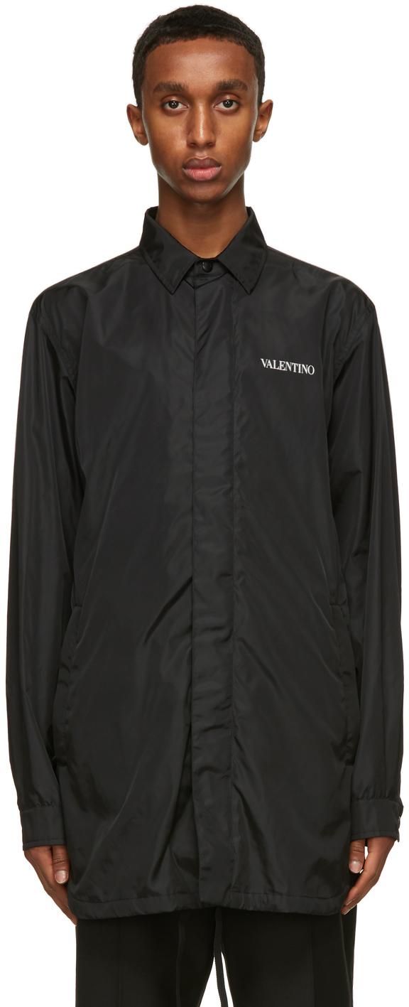 Valentino Black Satin Logo Jacket