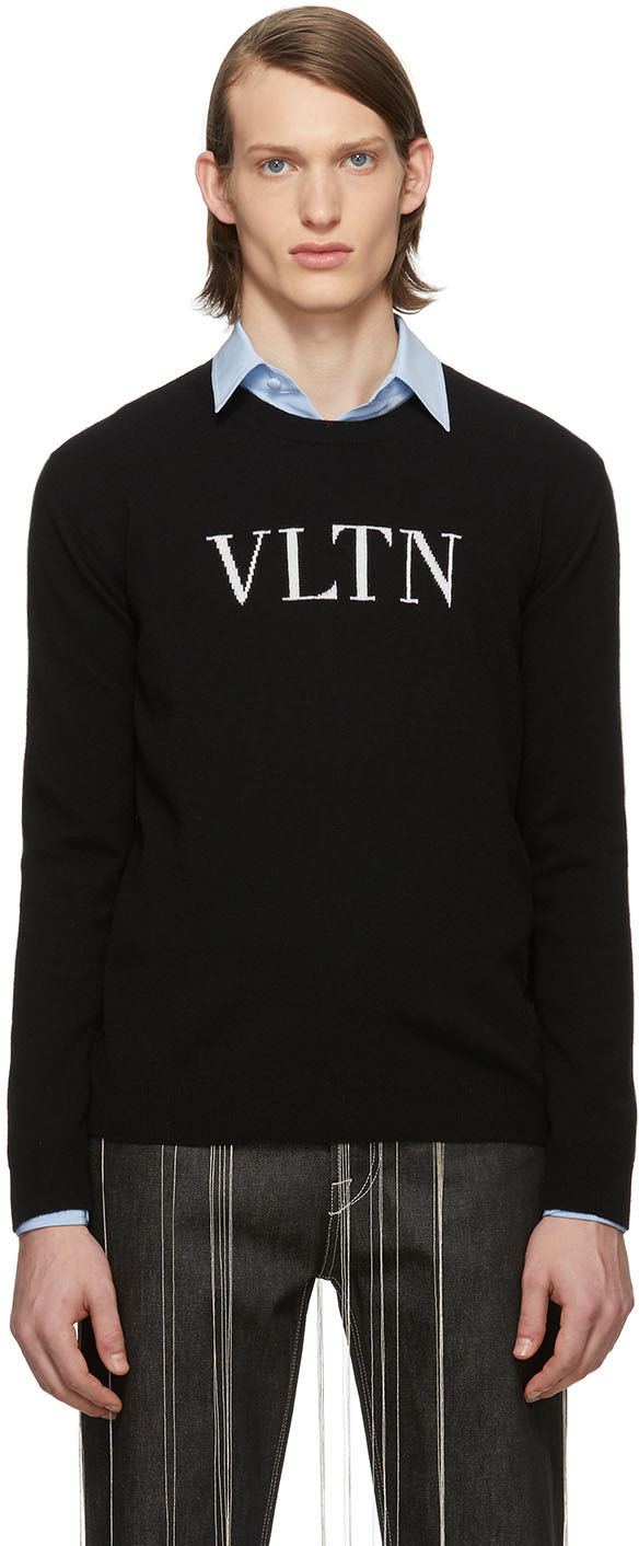 Valentino Black 'VLTN' Crewneck Sweater