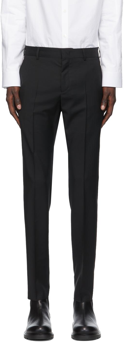 Valentino Black Wool & Mohair Skinny Trousers