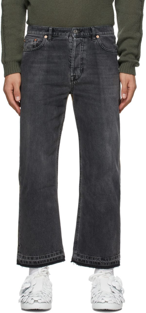 Valentino Black & Beige Dual Material Jeans