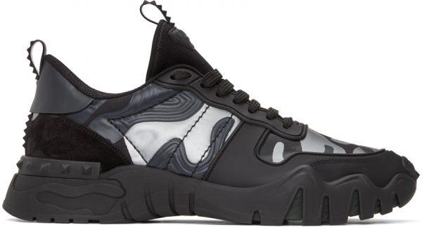 Valentino Black & Grey Valentino Garavani Camo Rockrunner Plus Sneakers