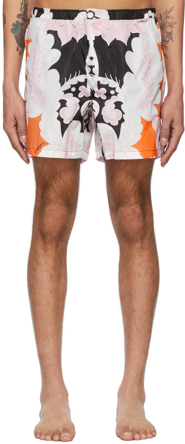 Valentino Black & Pink World Arazzo Print Swim Shorts