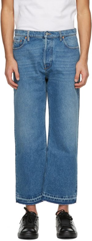 Valentino Blue & Navy Denim Paneled Jeans