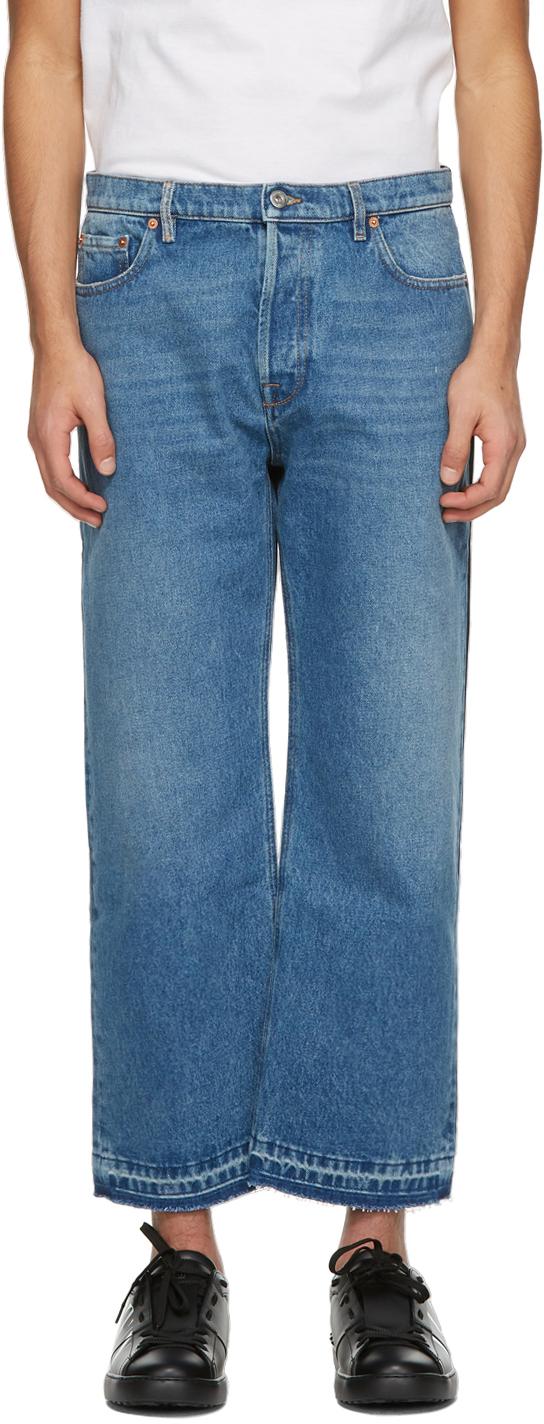 Valentino Blue & Navy Denim Paneled Jeans