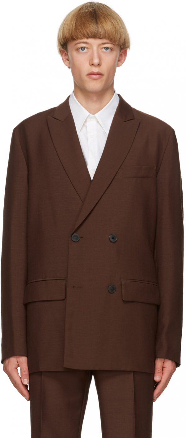 Valentino Brown Canvas Double Breasted Blazer