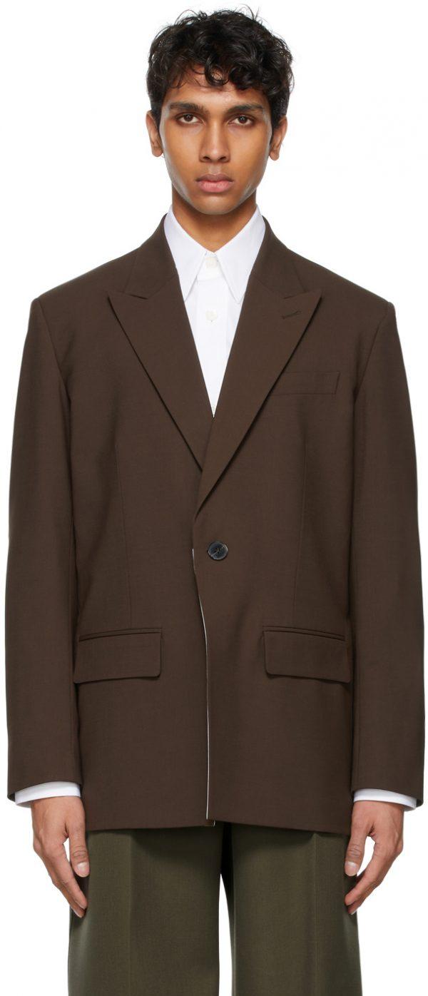 Valentino Brown Technical Wool Blazer