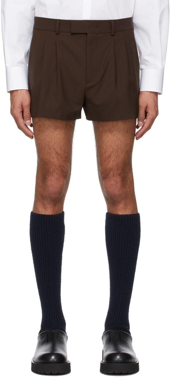 Valentino Brown Wool Shorts