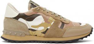 Valentino Garavani Beige & Pink Camo Rockrunner Sneakers