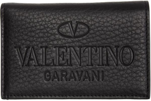 Valentino Garavani Black Logo Bifold Card Holder