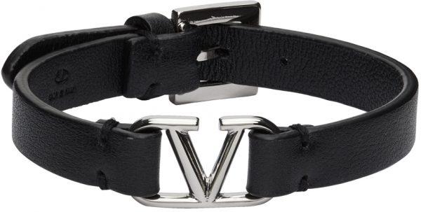 Valentino Garavani Black Palladium VLogo Bracelet