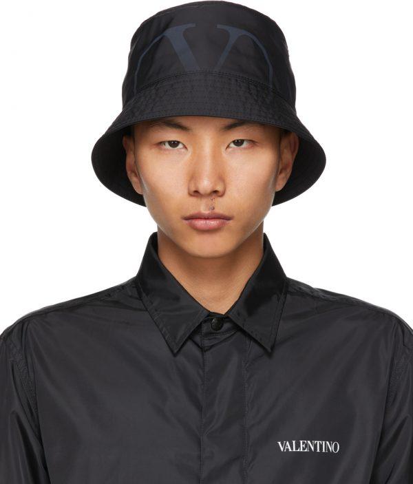 Valentino Garavani Black VLogo Print Bucket Hat