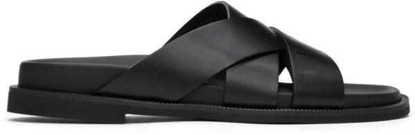 Valentino Garavani Black Valentino Garavani Calfskin 'VLTN' Slides