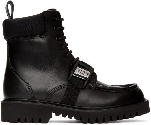 Valentino Garavani Black Valentino Garavani Leather 'VLTN' Combat Boots