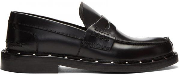 Valentino Garavani Black Valentino Garavani Studded Moccasin Loafers