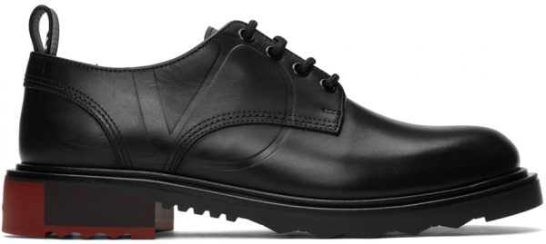 Valentino Garavani Black Valentino Garavani V-Logo Leather Derbies