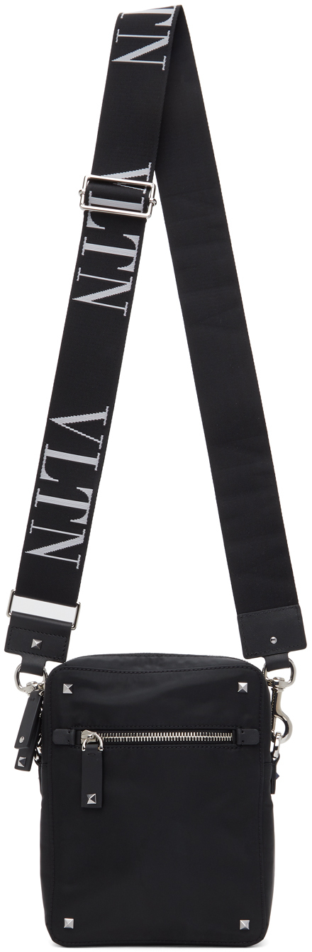 Valentino Garavani Black Valentino Garavani 'VLTN' Strap Crossbody Bag