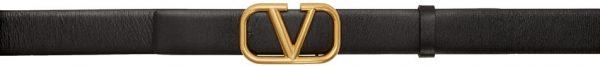Valentino Garavani Black Valentino Garavani VLogo Buckle Belt