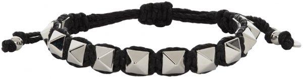 Valentino Garavani Black Waxed Cotton Rockstud Bracelet