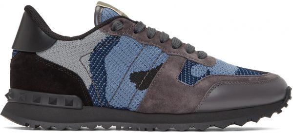 Valentino Garavani Black & Blue Valentino Garavani Camo Rockrunner Sneakers